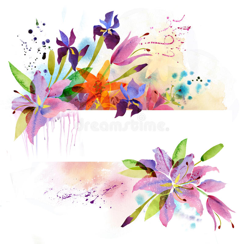 Floral background with watercolor lily vector illustration