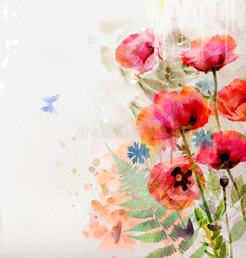 Floral Background With Watercolor Poppies Stock