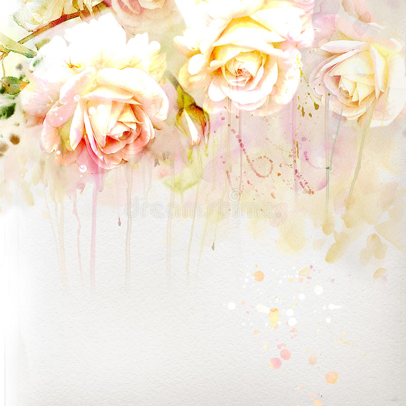 Floral background with watercolor roses vector illustration