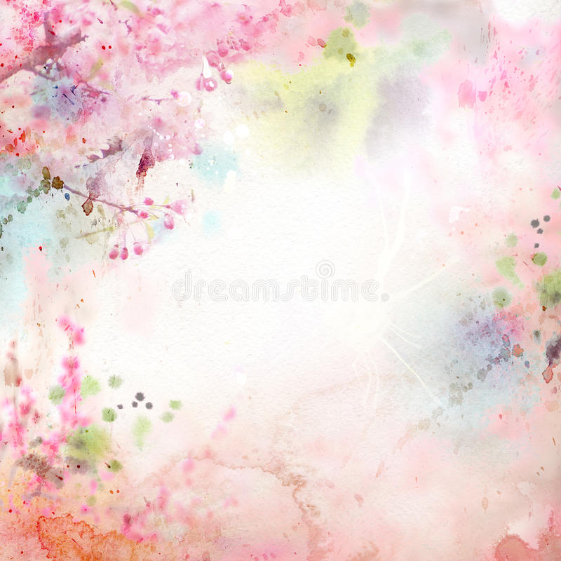 Floral background with watercolor sakura stock illustration