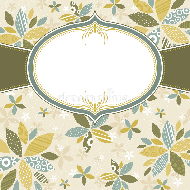 Floral background with white label royalty free illustration