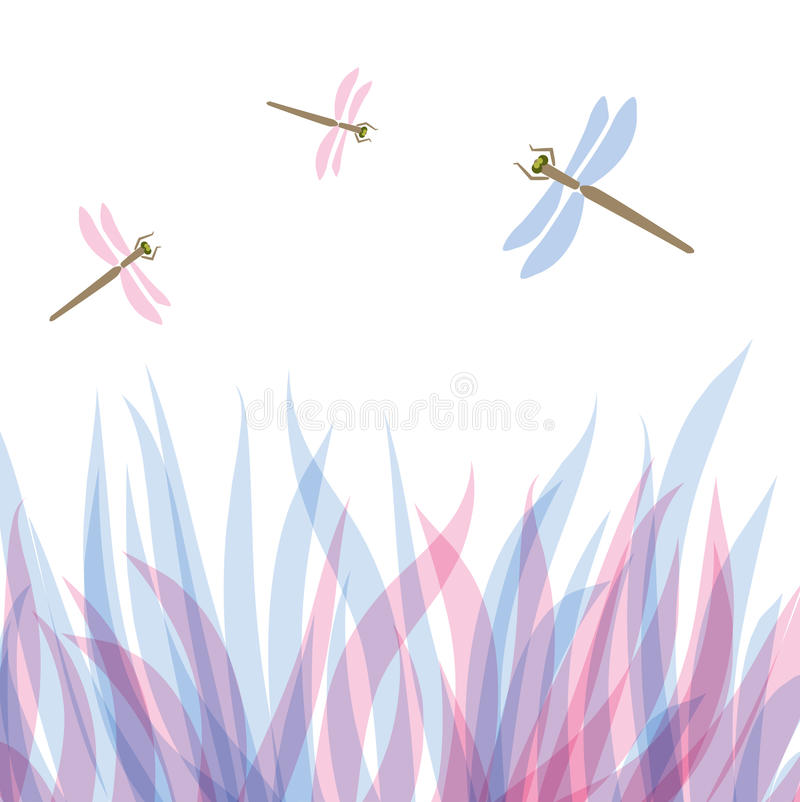 Free Floral Background With Abstract Plants And Dragonf Stock Photos - 15954113