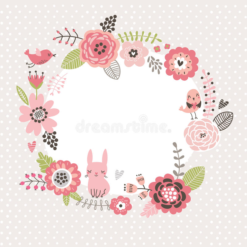 Floral background. Wreath frame with cute birds and a hare. Flowers card stock illustration