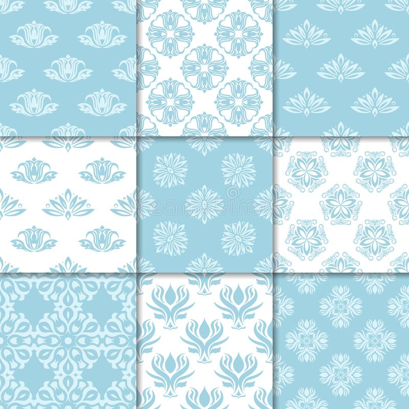 Floral backgrounds with navy blue seamless pattern vector illustration