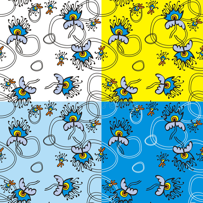 Floral backgrounds set stock photo