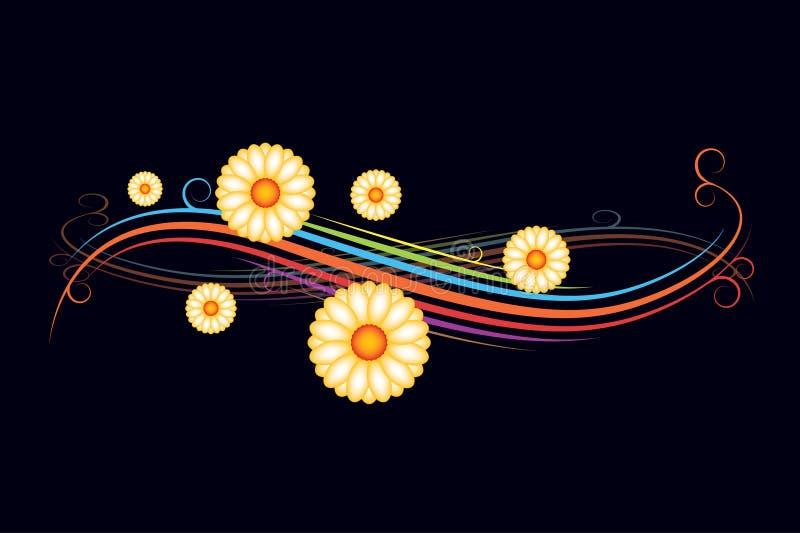 Floral backround. With color stripes - illustration vector illustration