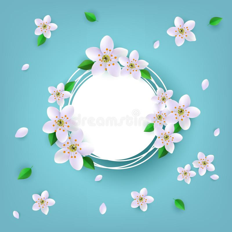 Floral badge with white apple or cherry blossoms and green leaves around empty label with copy space. stock illustration