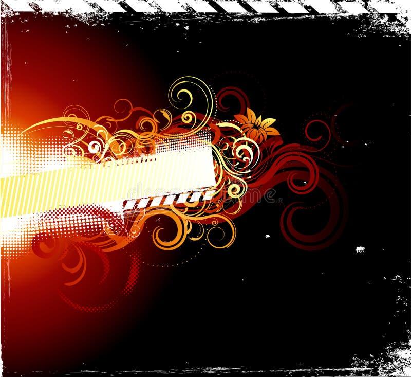 Floral banner. Hot banner with swirling floral decorative elements vector illustration