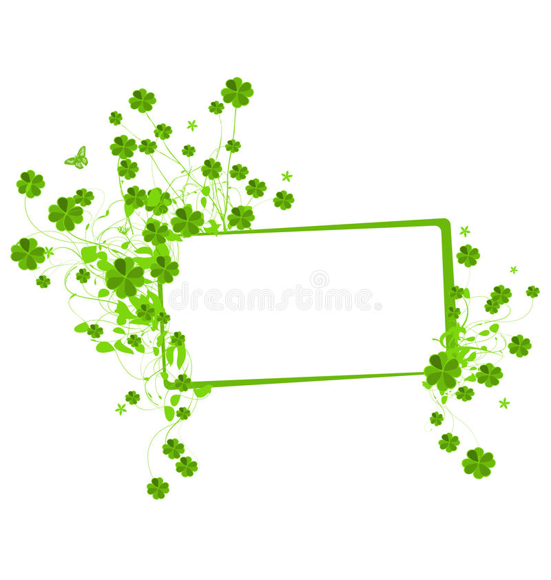 Floral banner with clover leaves royalty free illustration