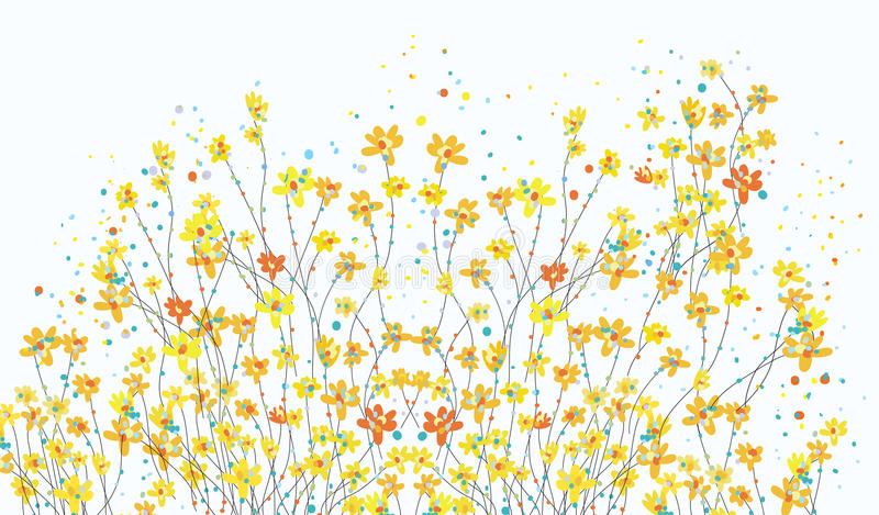 Floral banner with daffodil flowers cute stock illustration