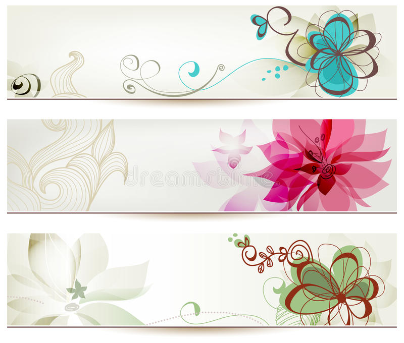 Download Floral banners stock vector. Image of decorative, frame - 25696077