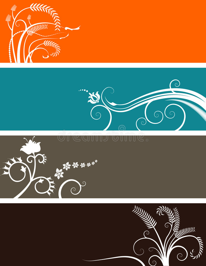 Floral banners choice. Four floral banners in different colours