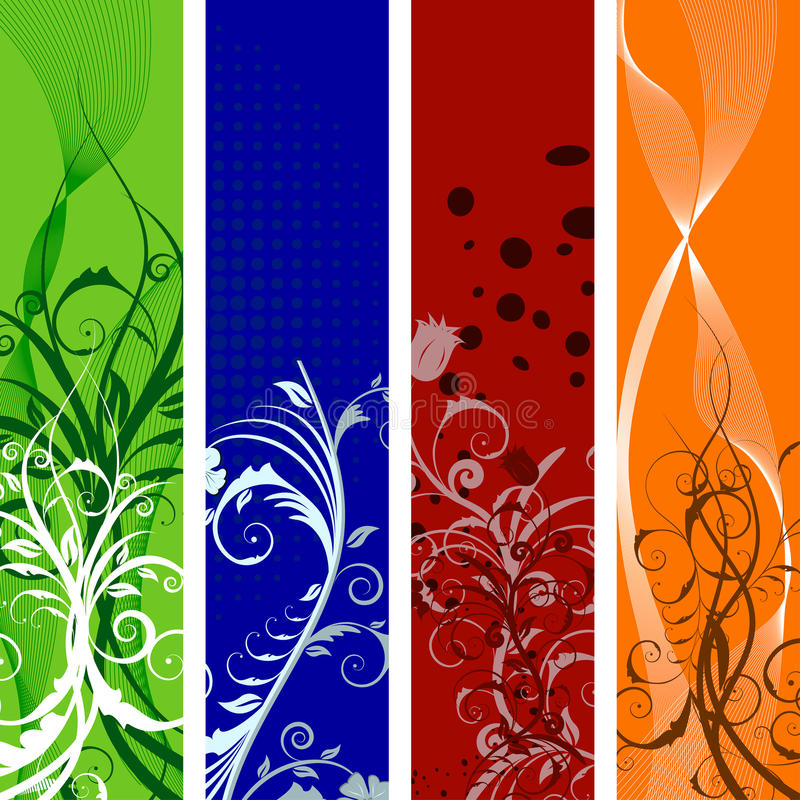 Floral banners set