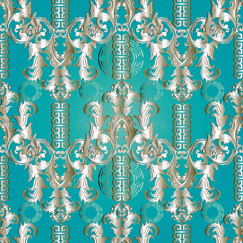 Floral Baroque meander seamless pattern . Greek key ornaments an vector illustration