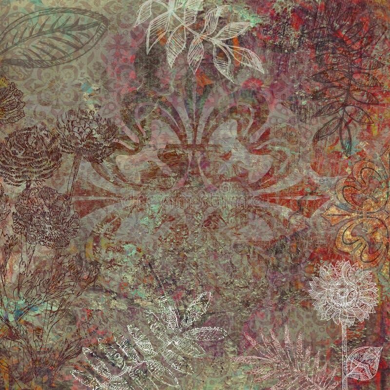 Floral batik design background. Decorative batik background with flowers and ornaments for scrapbook or other project stock illustration