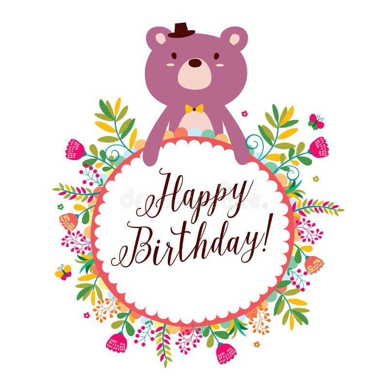 Floral bear frames design purple royalty free illustration