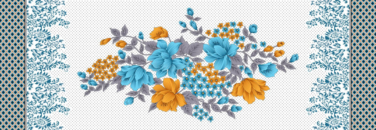 Floral beautiful flower pattern with border stock illustration