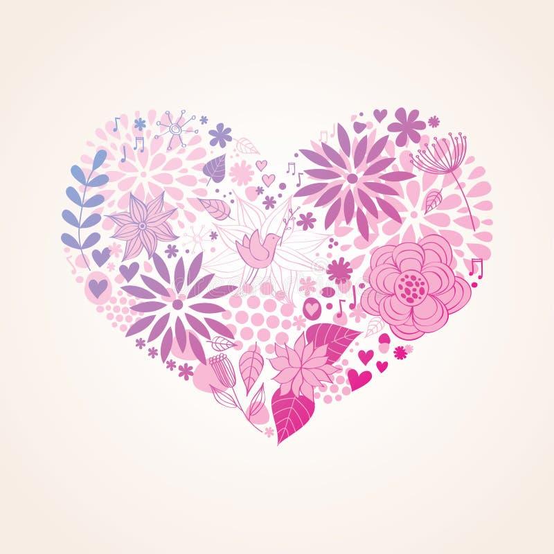Floral beautiful heart vector illustration