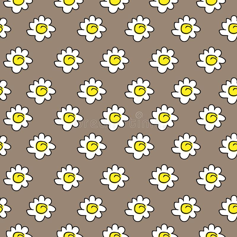 Floral beige seamless chamomile drawing. vector illustration. White daisies seamless pattern on a brown background. vector illustration