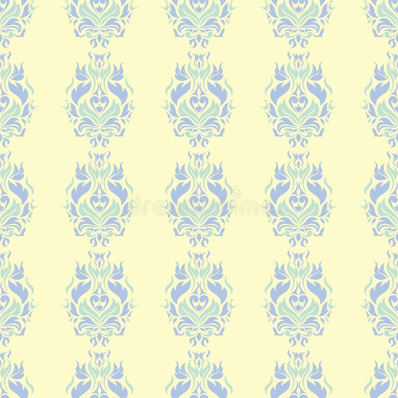 Floral beige seamless pattern. Beige background with light blue and green flower designs royalty free illustration