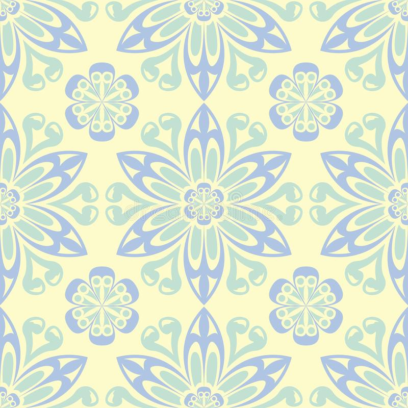 Floral beige seamless pattern. Beige background with light blue and green flower designs vector illustration