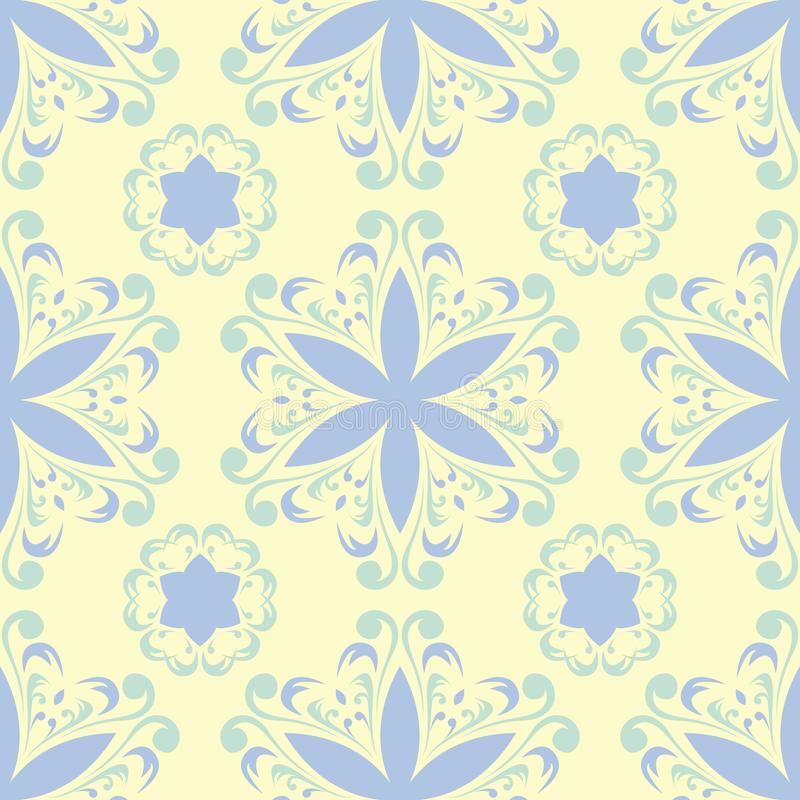 Floral beige seamless pattern. Beige background with light blue and green flower designs stock illustration