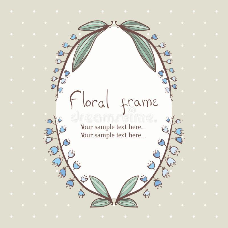 Floral bellflower wreath frame for text. Floral wreath frame for text, polka dots background royalty free illustration