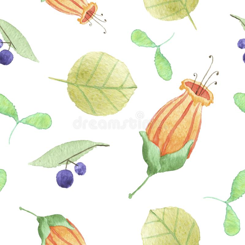 Floral and berry pattern stock photos