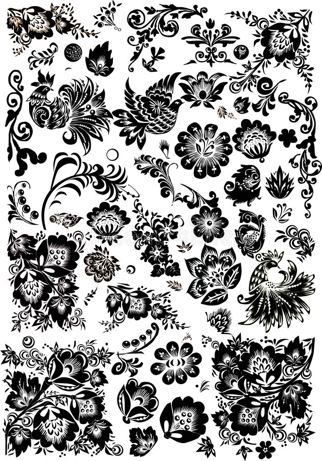 Download Floral And Bird Ornament Elements Stock Illustration - Illustration of decoration, drawing: 9166717