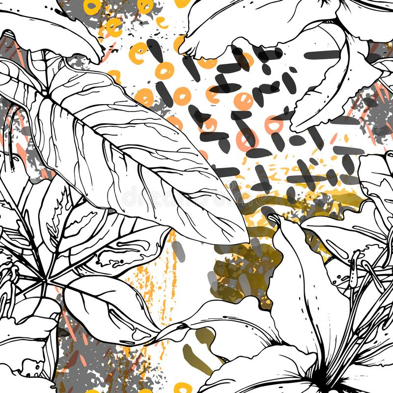 Free Floral Black And White Trends Artistic Watercolor. Royalty Free Stock Image - 164281456