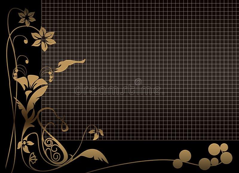 Floral black grid background. Black floral background with golden flowers and grid illustration royalty free illustration