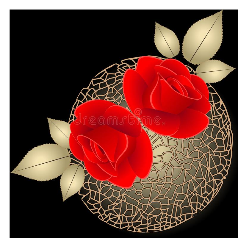 Floral black and white background with red roses on the ball. stock illustration