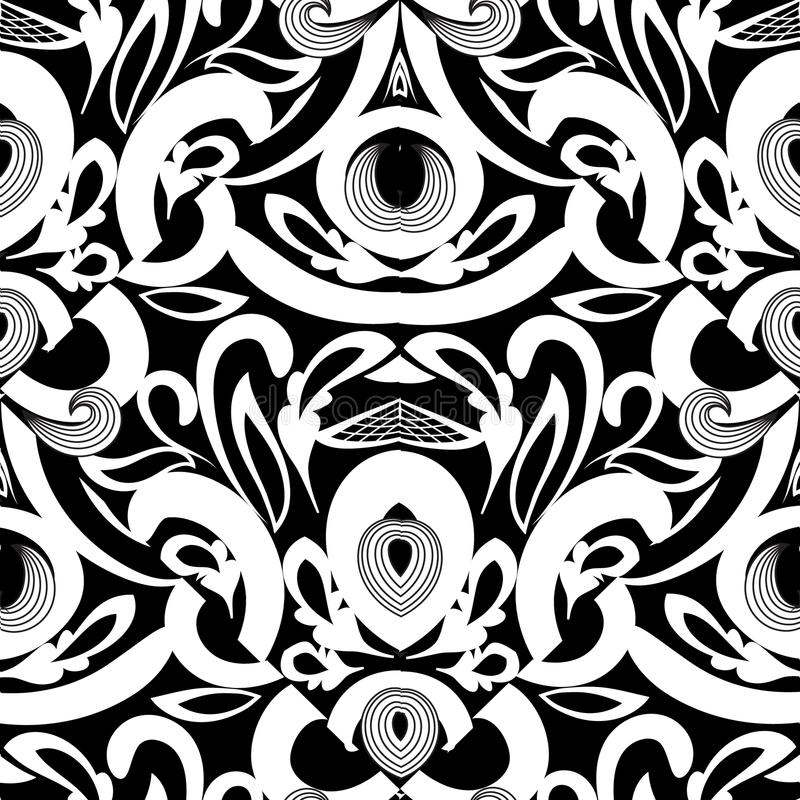 Floral black and white damask seamless pattern. Vector background with hand drawn doodle vintage flowers, swirl leaves, baroque s royalty free illustration