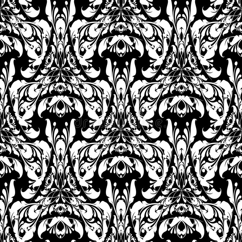 Floral black and white Damask vector seamless pattern. Beautiful. Ornamental patterned background. Intricate hand drawn vintage flowers, leaves. Line art stock illustration