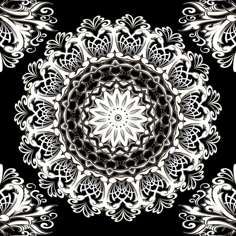 Floral black and white lace mandala seamless pattern. Ornamental round Baroque ornament. Vintage vector design. Monochrome texture. Elegance Damask flowers royalty free illustration