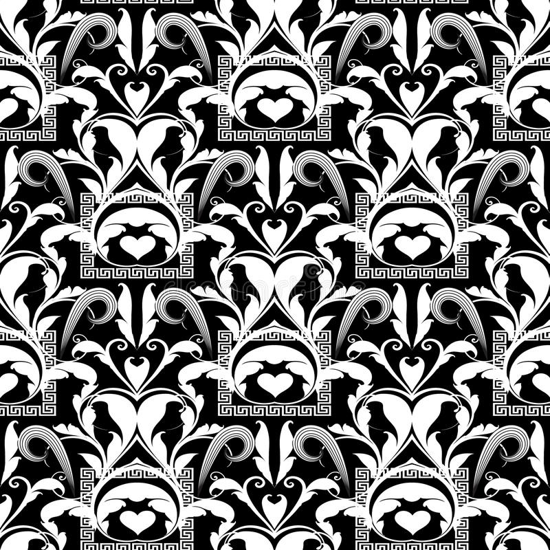 Floral black and white seamless pattern. Vector abstract background wallpaper with damask flowers, swirl leaves, curves, lines, m royalty free illustration