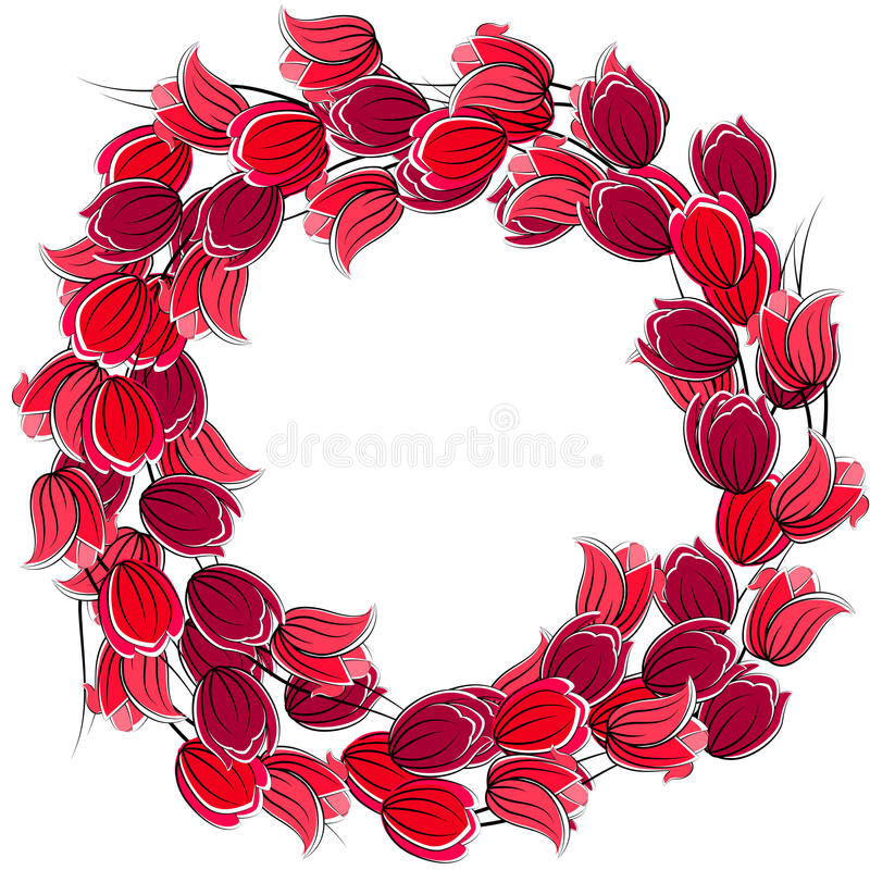 Floral blank frame with tulips vector illustration
