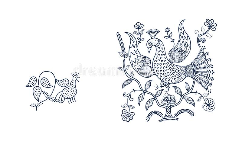 Floral blockprint elements. royalty free illustration