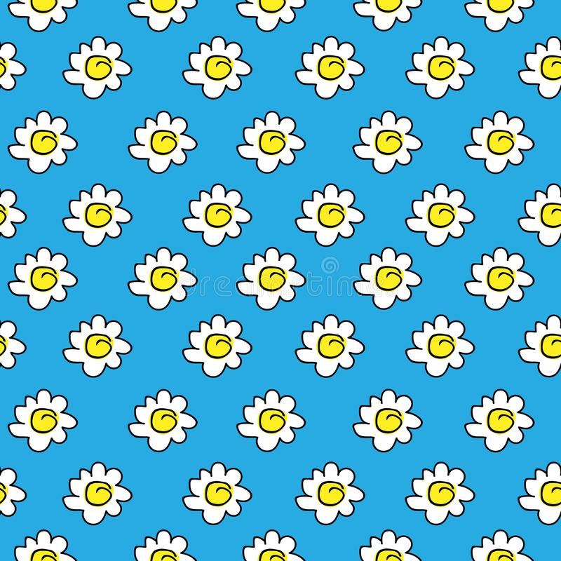 Floral blue seamless chamomile drawing. vector illustration. White daisies seamless pattern on a bright background. vector illustration