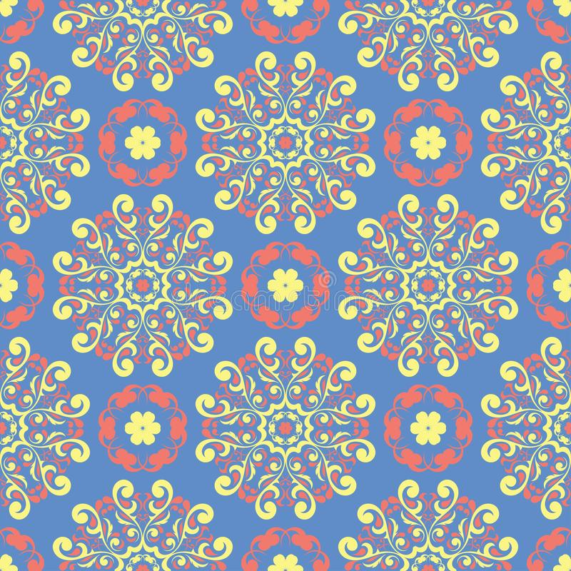 Floral blue seamless pattern. Colored flower background stock image