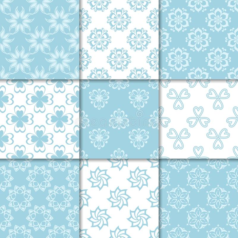 Floral blue and white seamless patterns. Backgrounds with fower elements for wallpapers royalty free illustration