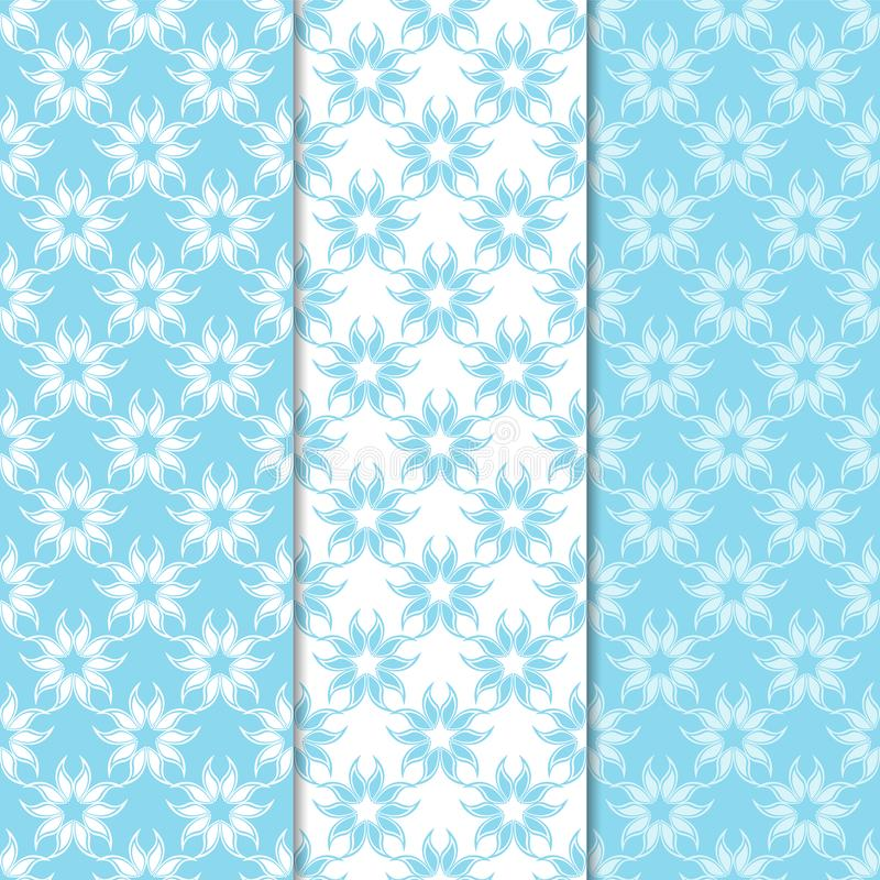 Floral blue and white seamless patterns. Backgrounds with fower elements for wallpapers vector illustration