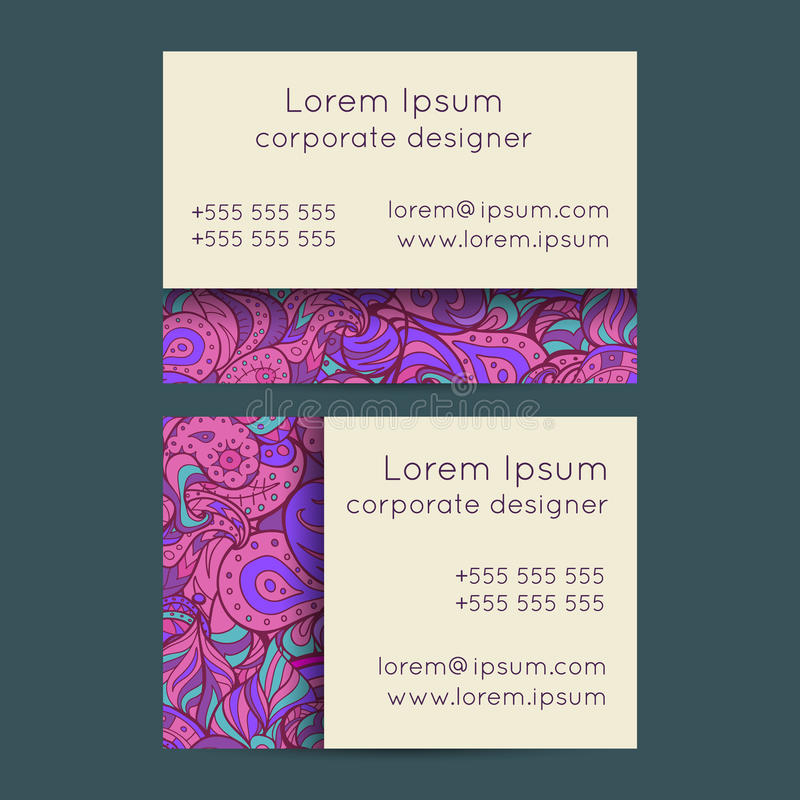 Floral Boho Paisley Business Cards Templates Stock Illustration ...