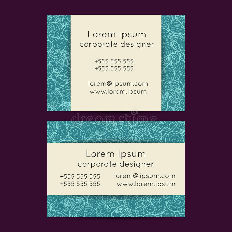 Floral Boho Paisley Business Cards Templates. Vector set of delicate hand drawn boho doodle paisley business card template designs. Floral summer design stock illustration