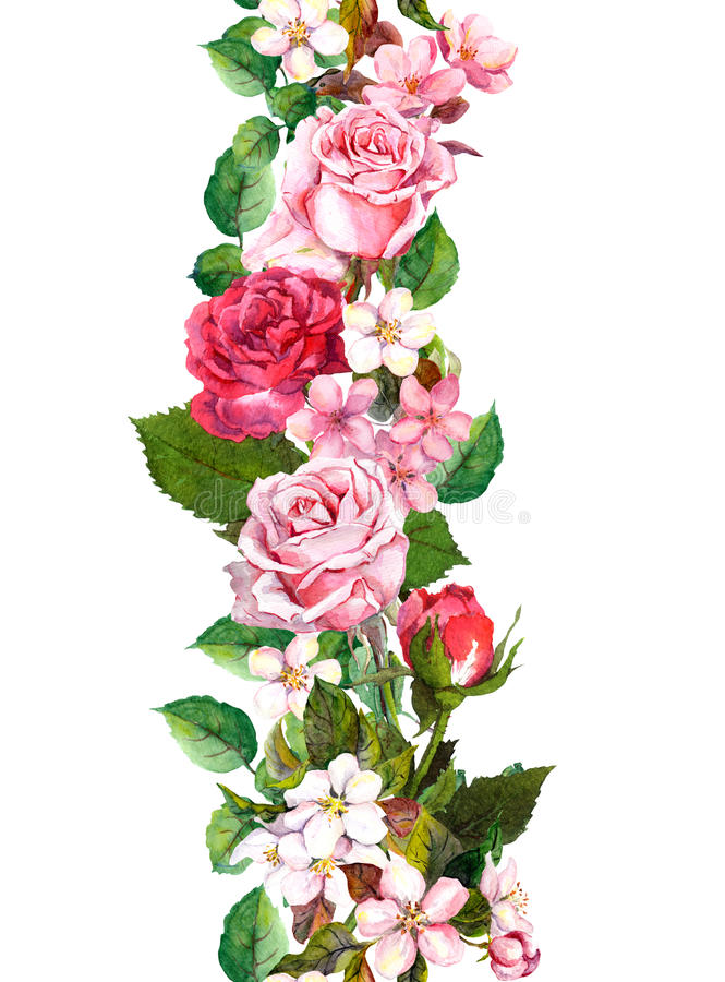 Floral border with apple, sakura, cherry flowers blossom, roses flowers. Watercolor seamless frame stock illustration