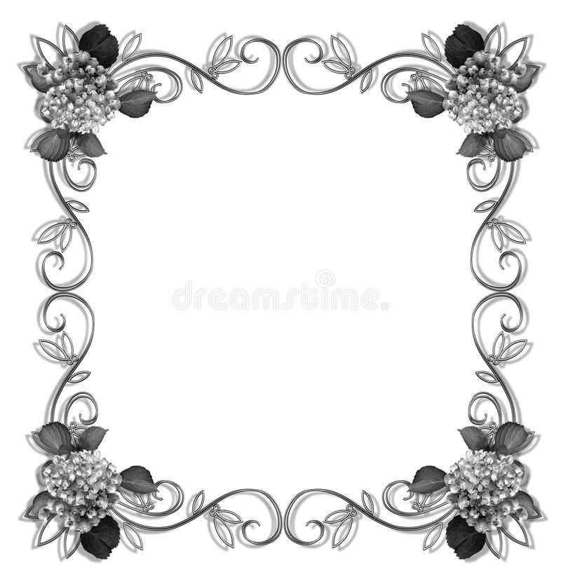 Download Floral Border Design Element Black And White Stock Illustration