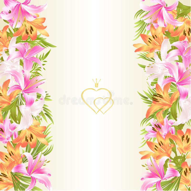 Floral border festive background with blooming lilies and buds vintage vector Illustration for use in interior design, greeting c stock illustration