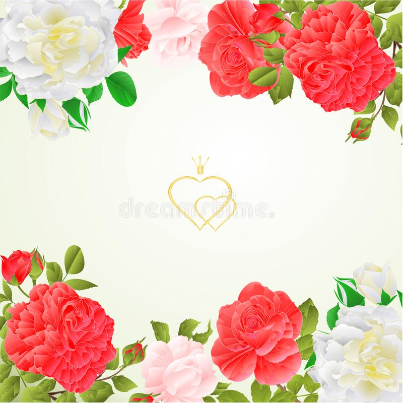 Floral border festive background with blooming roses and buds vintage vector Illustration for use in interior design stock illustration