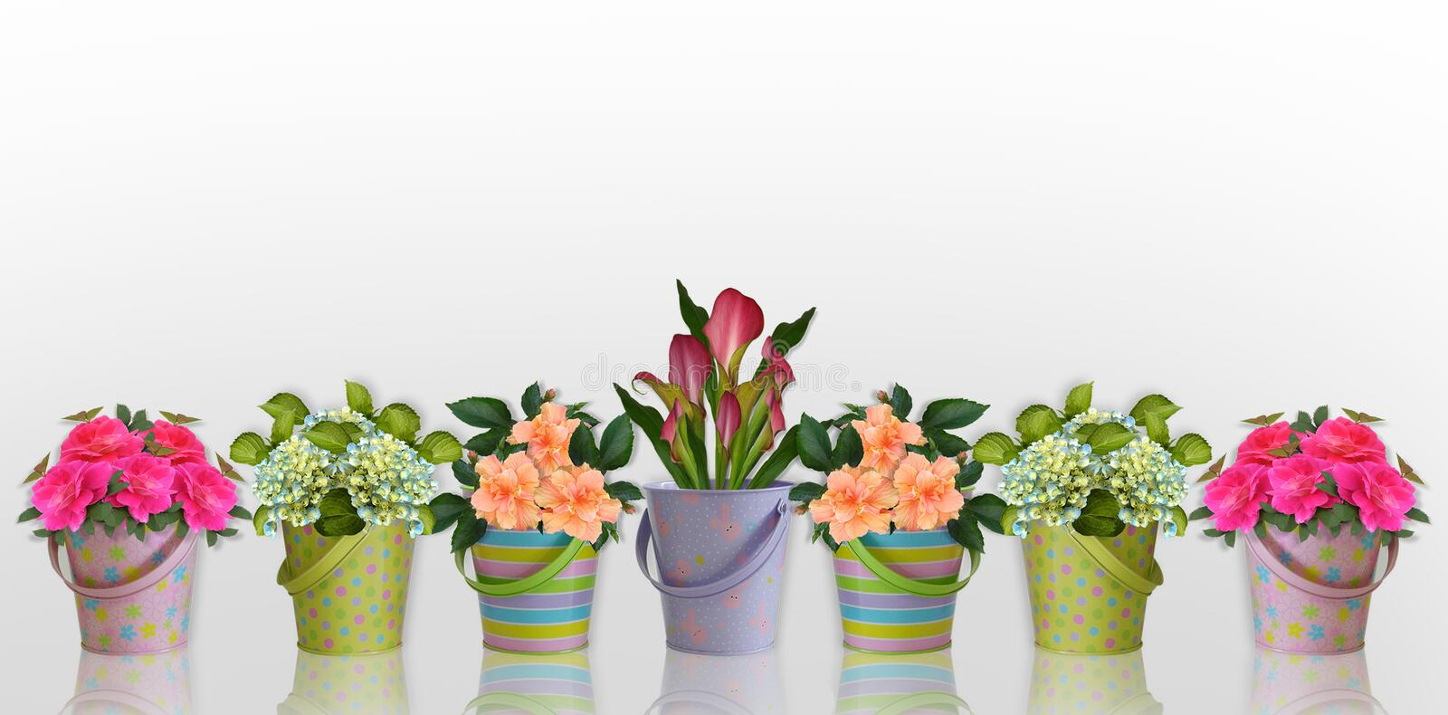 Floral border Flowers in colorful containers. Image and illustration composition Floral border Flowers in colorful containers for stationery background royalty free illustration