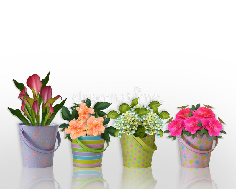 Floral border Flowers in Easter containers. Image and illustration composition Floral border Flowers in colorful containers for Easter greeting card, stationery royalty free illustration